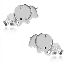925 ezüst fülbevaló - csillogó elefánt fekete színű szemmel, stekkeres zárszerkezet