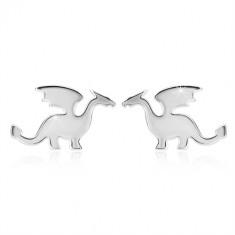Fülbevaló 925 ezüstből - sárkány motívum, fényes kivitel, bedugós fülbevaló