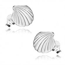 925 ezüst fülbevaló - fényes kagyló bemetszésekkel, bedugós fülbevaló