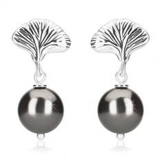 925 ezüst fülbevaló - hematit színű golyók, kagyló, bedugós fülbevaló