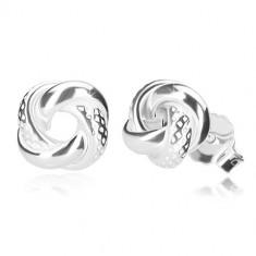 925 ezüst fülbevaló - fényes csomó szabálytalan mélyedésekkel, stekkeres zárszerkezet