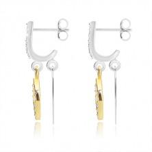 925 ezüst fülbevaló - függőleges cirkóniás vonal két levéllel arany és ezüst színben