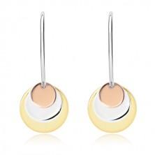 925 ezüst fülbevaló  - fényes ív és három kör réz, ezüst és arany színben