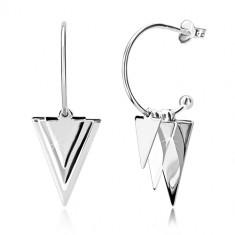 925 ezüst fülbevaló - fényes háromszögek és golyók, keskeny ív golyóval, bedugós fülbevaló