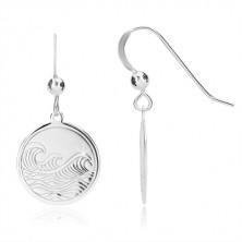 925 ezüst fülbevaló - fényes kör, gravírozott felület, tenger motívum