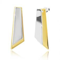 925 ezüst fülbevaló - szabálytalan négyszögek arany és ezüst színben
