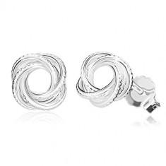 925 ezüst fülbevaló - fényes csomó bemetszésekkel, keskeny vonalak, stekkeres zárszerkezet