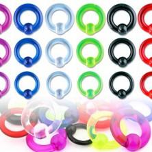 Akril UV piercing – gyűrű egy sima felületű golyóval