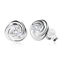 925 ezüst fülbevaló - virág szirmokkal, csillogó cirkónia, stekkeres zárszerkezet