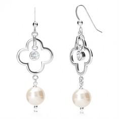 925 ezüst függő fülbevaló - kontúr négylevelű lóhere, cirkónia, gyöngy, akasztós