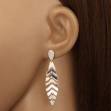 925 ezüst fülbevaló - tükörfényes madártoll, fordított könnycsepp, stekker
