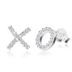 """Cirkóniás fülbevaló 925 ezüstből - """"X"""" és """"O"""" betűk, stekkeres zárszerkezet"""