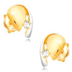Kétszínű 585 arany fülbevaló - könnycsepp kristálytiszta cirkóniával és fehér arany ívvel