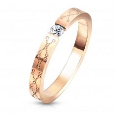 Acél jegygyűrű - kristálytiszta cirkónia, rézszínű, vésett minta