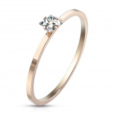 Rézszínű acél jegygyűrű - kristálytiszta cirkónia, fényes felület