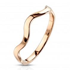 Rézszínű acél gyűrű - hullám minta, keskeny fényes sín