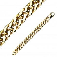 Aranyszínű acél karkötő - nagy ovális szemek, párhuzamos kapcsolás