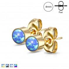 Sebészeti acél fülbevaló - kerek kék szintetikus opál, stekkeres, 4 mm