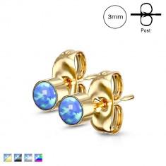 Sebészeti acél fülbevaló - szintetikus kék opál foglalatban, stekkeres, 3 mm