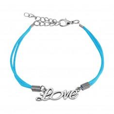 """Világoskék zsinóros karkötő ezüstszínű """"Love"""" felirattal"""