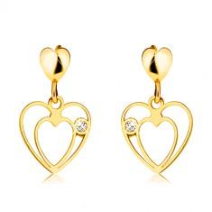 375 arany fülbevaló - három fényes szív, kerek cirkónia, stekker