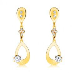 375 arany fülbevaló - kontúr könnycsepp függő, kristálytiszta cirkónia, stekker