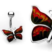 Köldökpiercing – csillogó pillangó
