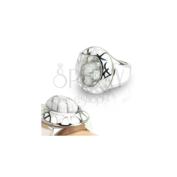 Női gyűrű sebészeti acélból - White Murano