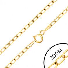 375 arany lánc - fényes lapos ovális láncszemek, 600 mm