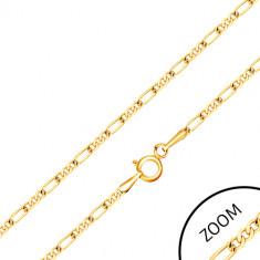 375 arany lánc - három apró szem és egy hosszúkás szem, 600 mm