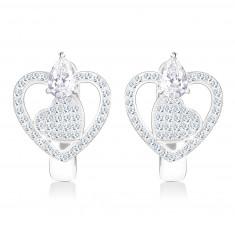 Ródiummal kezelt 925 ezüst fülbevaló - szív körvonal és cirkóniás szív, csepp alakú cirkónia