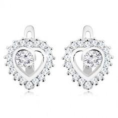 925 ezüst fülbevaló - csillogó szív körvonal, kerek átlátszó cirkónia középen