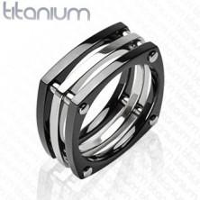Titánium gyűrű - három összekapcsolt négyzet