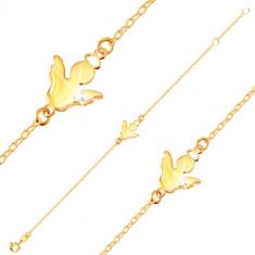 9K arany karkötő - angyal sziluett dicsfénnyel és átlátszó cirkóniával a szárnyán