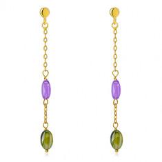 14K arany bedugós fülbevaló - lila és olívazöld cirkónia, finom lánc
