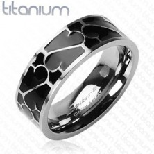 Gyűrű titániumból - fekete zománc, minta