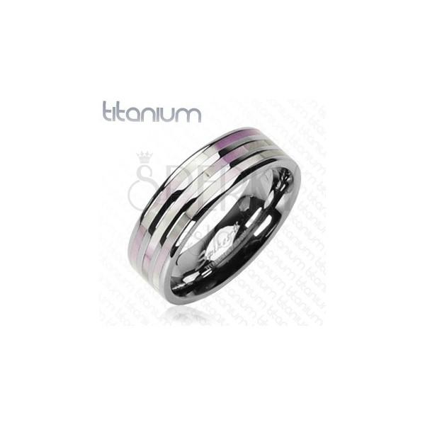 Titánium gyűrű - három rózsaszín csík