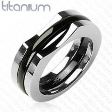 Férfi titánium gyűrű - három részes