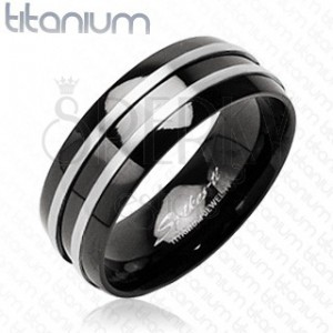 Fekete titánium gyűrű - két ezüst csík