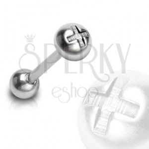 Nyelv piercing - félkör, csavar minta
