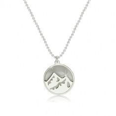 925 ezüst nyaklánc - fényes Föld elem egy körbe helyezve