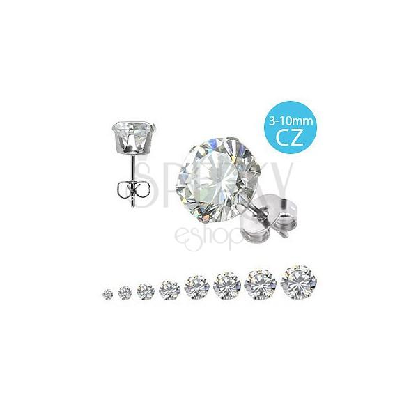316L acél fülbevaló csillogó cirkónia kő, különböző méretek