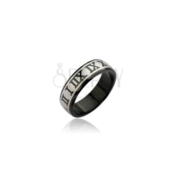 Nemesacél gyűrű - fekete római számok