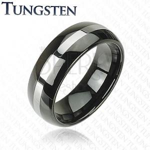 Elegáns wolfram gyűrű - fekete, ezüst csík, 8 mm