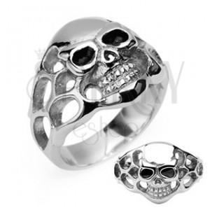 Sebészeti acélból készült gyűrű - kopony, fekete szemek