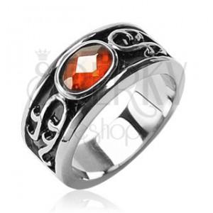 Sebészeti acélból készült gyűrű - narancssárga kő és ornament