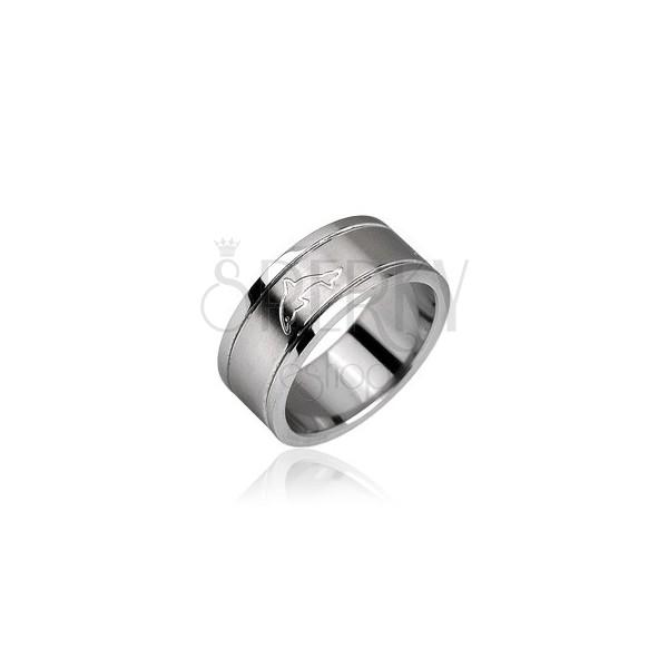 Sebészeti acélból készült gyűrű - fényes, delfín motívum