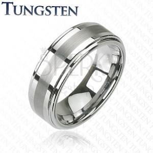 Gyűrű wolframból - ezüst, finoman csiszolt sáv