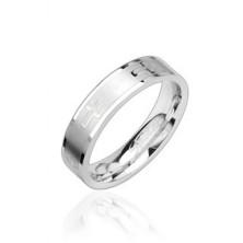 Fényes acél gyűrű, kereszt