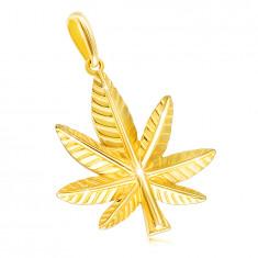 14K sárga arany medál - kender levél bemetszésekkel